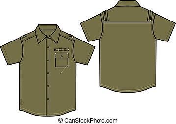 menino, camisas, militar