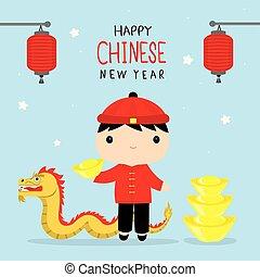 menino, caráter chinês, crianças, tradicional, vetorial, ano, novo, feliz, caricatura, comemorar, roupas