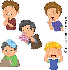 menino, caricatura, cobrança, doente