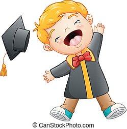 menino, caricatura, feliz, graduação