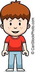 menino, caricatura, feliz