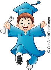 menino, caricatura, graduação