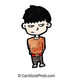 menino, caricatura, infeliz