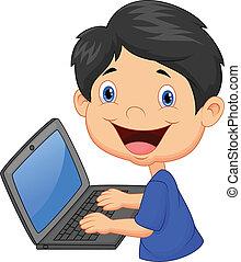 menino, caricatura, laptop