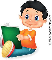 menino, caricatura, livro leitura