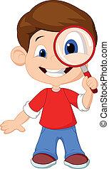 menino, caricatura, magnifier