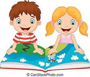 menino, caricatura, menina, leituras