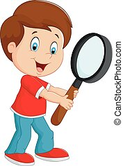 menino, caricatura, segurando, magnifier