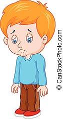 menino, caricatura, triste