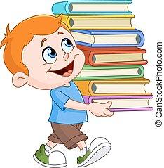 menino, carregar, livros