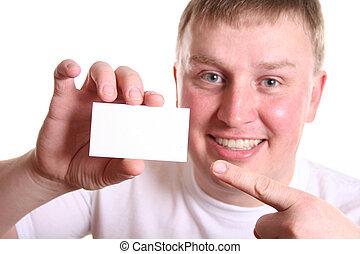menino, cartão, texto