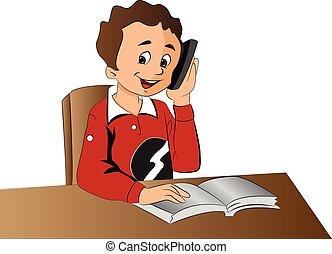 menino, cellphone, ilustração, usando