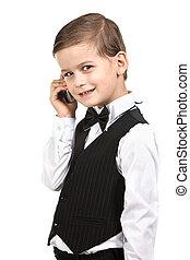 menino, cellphone segurando