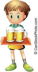 menino, cerveja, bandeja, segurando