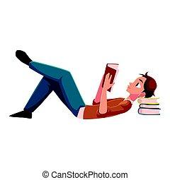 menino, chão, jovem, livro, leitura, homem, mentindo