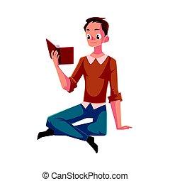 menino, chão, sentando, jovem, livro, leitura, homem