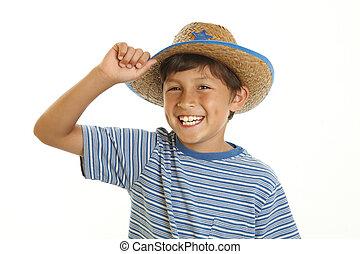 menino, chapéu, jovem, boiadeiro