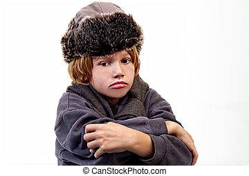 menino, chapéu pele