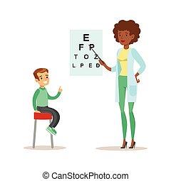 menino, checkeing, seu, exame, doutor, médico, vista, mapa,...