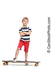 menino, cheio, skateboard, isolado, contra, jovem, comprimento, fundo, retrato, montando, branca, adorável