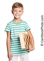 menino, chessboard, feliz
