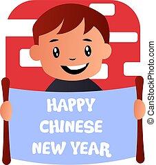 menino, chinês, ilustração, celebrando, vetorial, fundo, ano, novo, branca, caricatura