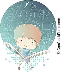 menino, ciência, ilustração, livro, física, criança