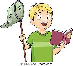 menino, ciência, inseto, livro, rede, criança