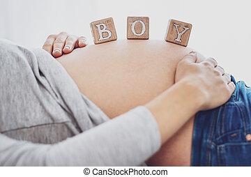 menino, cima, futuro, esperando, mãe, fim