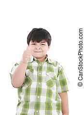 menino, cima, isolado, dedo, fundo, branca