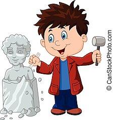 menino, cinzel, escultor, segurando