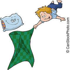 menino, cobertor
