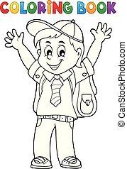 menino, coloração, 1, tema, livro, pupila, feliz