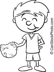 menino, coloração, biscoito, página