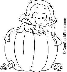 menino, coloração, dia das bruxas, criança, página, abóbora