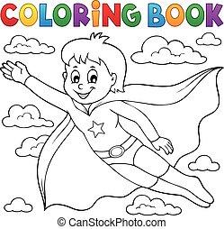 menino, coloração, herói, 1, tema, livro, super
