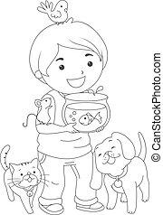 menino, coloração, página, animais estimação, criança