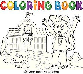 menino, coloração, tema, 2, pupila, livro, feliz
