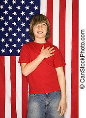 menino, com, americano, flag.