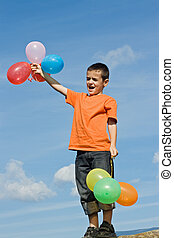 menino, com, balões