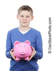 menino, com, banco piggy cor-de-rosa