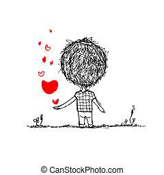 menino, com, coração vermelho, cartão valentine, esboço, para, seu, desenho