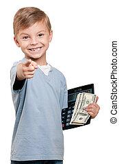 menino, com, dólares