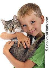 menino, com, gato
