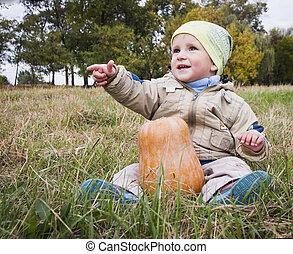 menino, com, grande, amarela, abóbora, em, mãos, sentar-se grama