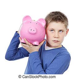 menino, com, grande, banco piggy cor-de-rosa