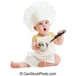 menino, com, metal, ladle, e, cozinheiro, chapéu, isolado