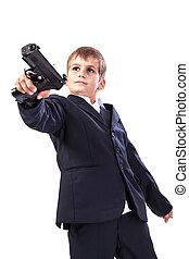 menino, com, um, arma
