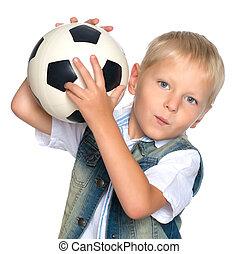 menino, com, um, bola futebol