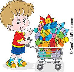 menino, com, um, bonde compras